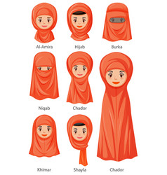 types islamic traditional veils female vector image