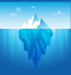 Underwater iceberg flowing ice rock in ocean vector