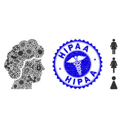 viral mosaic woman profile icon with medic vector image