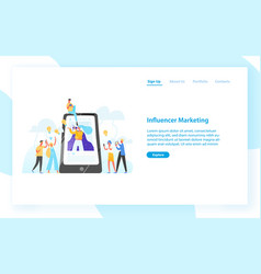 web banner template with smartphone woman vector image