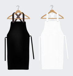 White and black aprons apron mockup clean apron vector