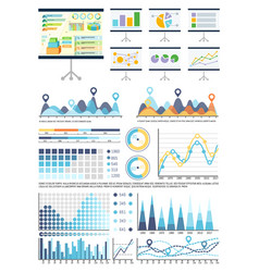 whiteboard with infocharts and infographics data vector image