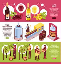 winery isometric horizontal banners vector image