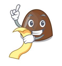 With menu chocolate candies mascot cartoon vector