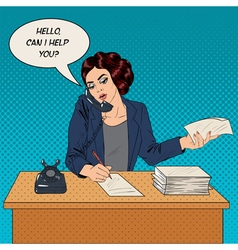 Working Woman Speaking on the Phone at Office vector