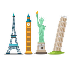 world landmark collection isolate set vector image