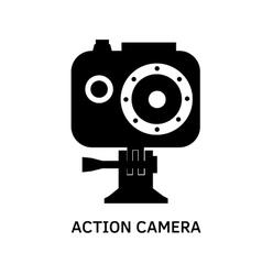 Action camera icon - black video cam symbol vector image vector image
