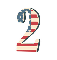 capital 3d number two with american flag texture vector image