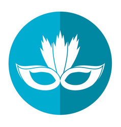 carnival mask with feathers shadow vector image