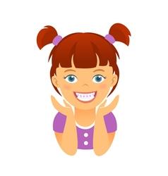 Children braces happy girl with white smile teeth vector image vector image