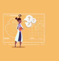 Female african american doctor confused thinking vector