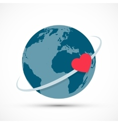 Heart revolves around the earth vector image