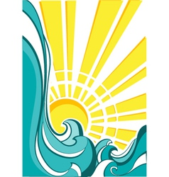 sea waves of nature poster with yellow sun vector image
