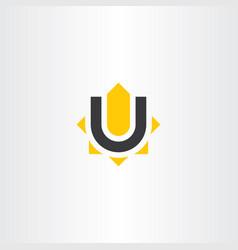 yellow black letter u logo icon symbol vector image vector image