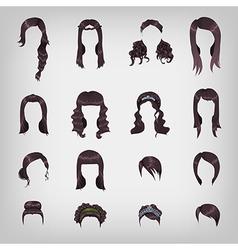 Assortment of female brunette hair vector image vector image