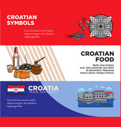 croatian symbols and food promotional travel vector image