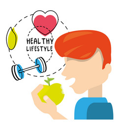 Healthy man eat apple to carry healthy lifestyle vector