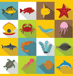 sea animals icons set flat style vector image