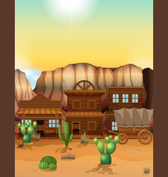 Western town with buildings and wagon vector