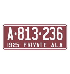 Alabama 1925 license plate vector image vector image