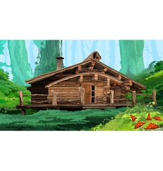 hut in the woods vector image