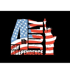Independence Day of America Statue of Liberty and vector image