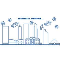 usa tennessee memphis winter city skyline vector image