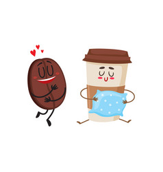 coffee bean and espresso cup characters love for vector image vector image