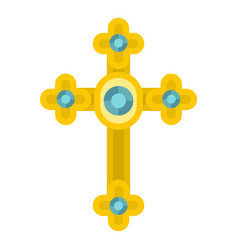 Golden cross with diamonds icon isolated vector