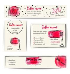 Nail polish watercolor banner set vector