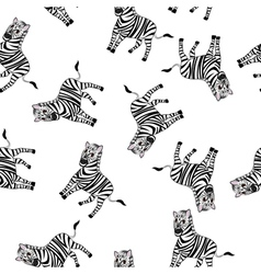 Seamless Funny Cartoon Zebra vector image vector image
