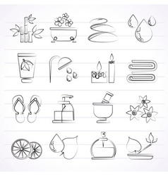 Spa and relax objects icons vector image vector image