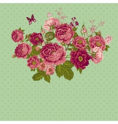 Vintage Roses Background with Butterflies vector image vector image