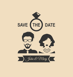 vintage wedding romantic invitation card with vector image
