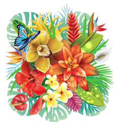 with tropical flowers vector image