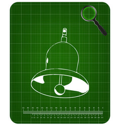 3d model of a bell on a green vector image