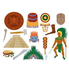 aztec mexican ancient culture in mexico and vector image