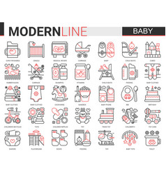 Baby care web icon set red vector