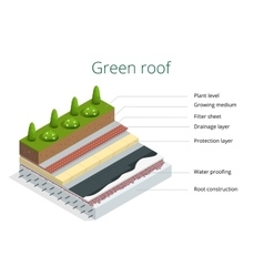 Basic elements of a green roof Flat 3d vector