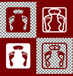 bathroom scale sign bordo and white icons vector image