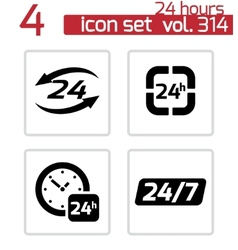 black 24 hours icons set vector image