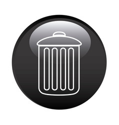 Black circular frame with trash container icon vector