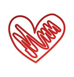 blue hand drawn heart love romance passion vector image