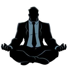 businessman meditating silhouette vector image