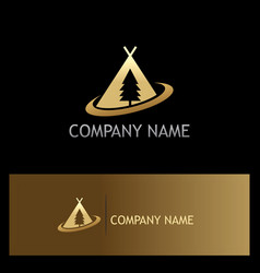 Camp pine tree gold logo vector