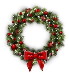 Card with christmas wreath vector