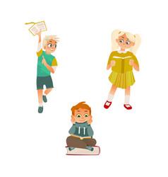 cartoon girl boy reading book set vector image