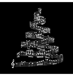 Christmas tree from music notes vector