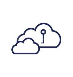 cloud computing with key isolated icon vector image