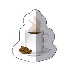 coffee cuppa with steam and coffee grains in the vector image
